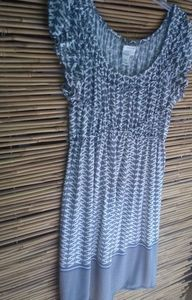 Studio M Gray White Stretch Dress L
